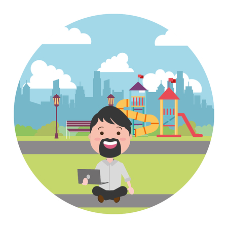 man sitting with laptop tech in the city playground vector illustration