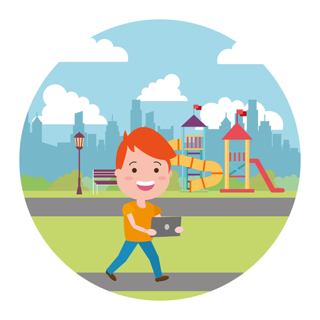 young boy with laptop in the city kids playground vector illustration Stok Fotoğraf - 124834734