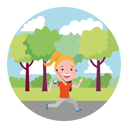running woman with mobile on the outdoors vector illustration Illustration