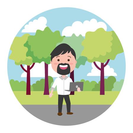 beard man using laptop on the outdoors vector illustration