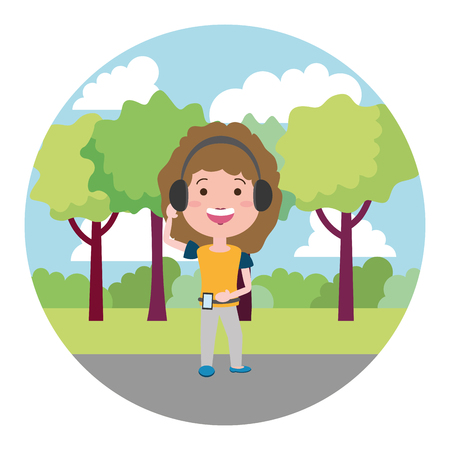 woman using heaphones on the outdoors vector illustration