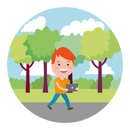 young boy with laptop on the outdoors vector illustration