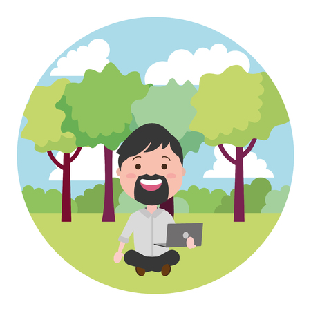 man sitting with laptop tech on the outdoors vector illustration