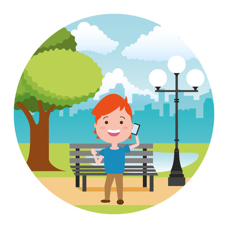 young man calling mobile tech in the bench park vector illustration Illustration