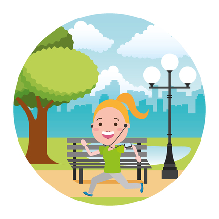 running woman with wearable tech in the park vector illustration