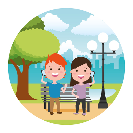 kids with mobiles tech in the bench park vector illustration
