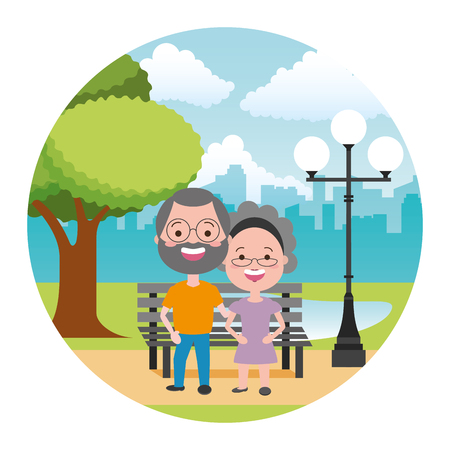 happy elderly couple in the bench park vector illustration Illustration