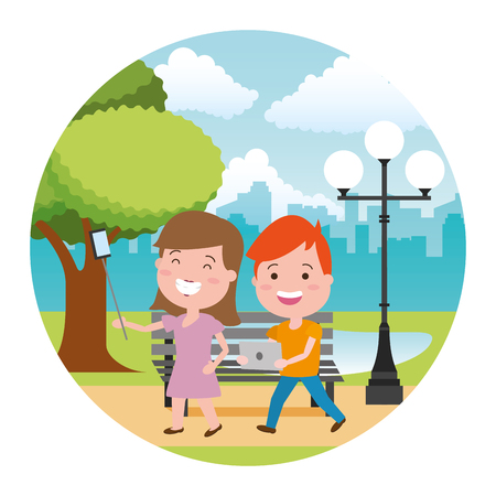 woman taking selfie and young with laptop tech in the bench park vector illustration Archivio Fotografico - 124834750