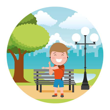 sport guy with earphones tech in the bench park vector illustration Illustration