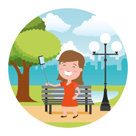 smiling woman taking selfie tech in the bench park vector illustration Çizim