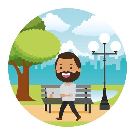 beard man using laptop tech in the bench park vector illustration Illustration