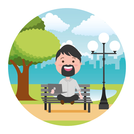 man sitting with laptop tech in the bench park vector illustration