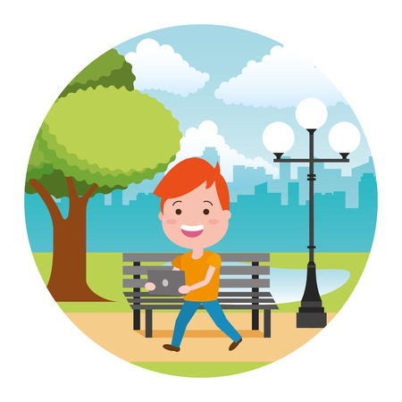 young boy with laptop tech in the bench park vector illustration