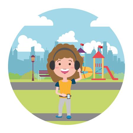 woman using heaphones in the city playground vector illustration 일러스트
