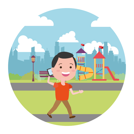 man using mobile in the city playground vector illustration