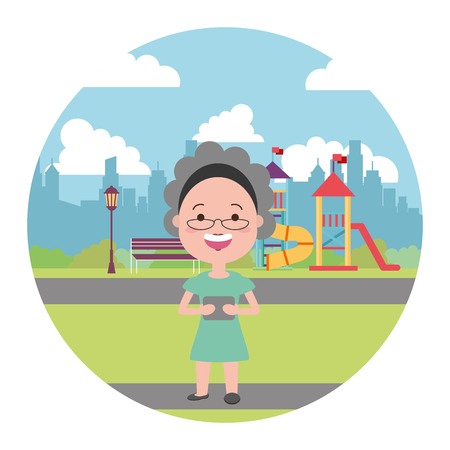 elderly woman with mobile in the city playground vector illustration