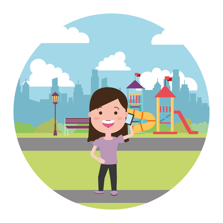 woman using mobile in the city playground vector illustration
