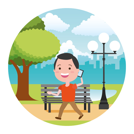 man using mobile tech in the bench park vector illustration