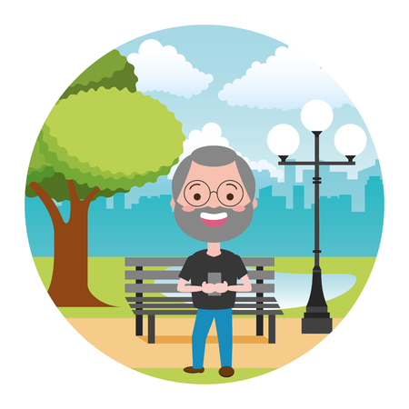 mature man with mobile tech in the bench park vector illustration