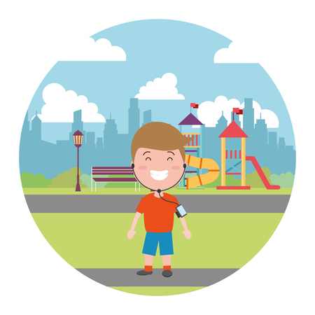 sport boy with earphones in the city playground vector illustration 向量圖像