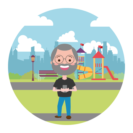 mature man chatting mobile in the city playground vector illustration