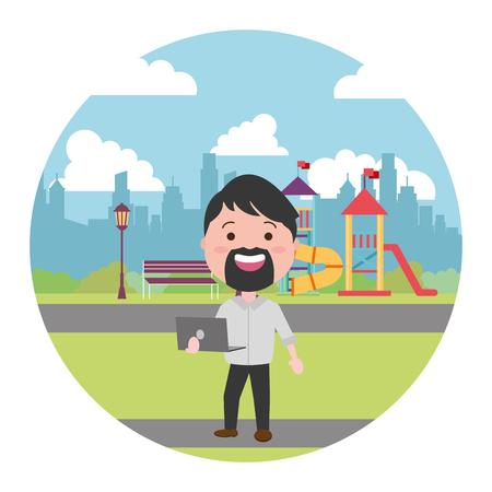 beard man using laptop in the city playground vector illustration