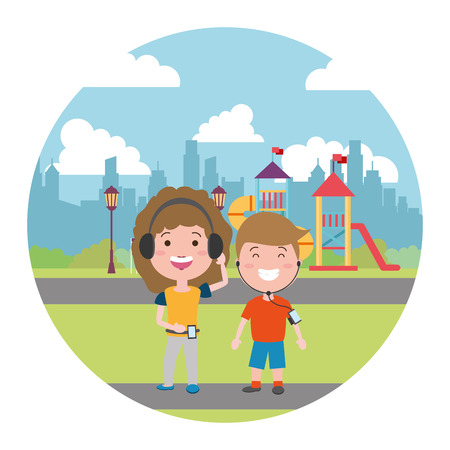 boy and girl mobile earphones in the city playground vector illustration Ilustrace