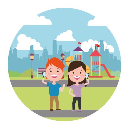 kids with mobile in the city playground vector illustration Stock Illustratie