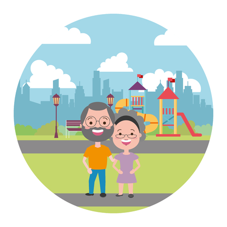 elderly couple in the city playground vector illustration Illustration