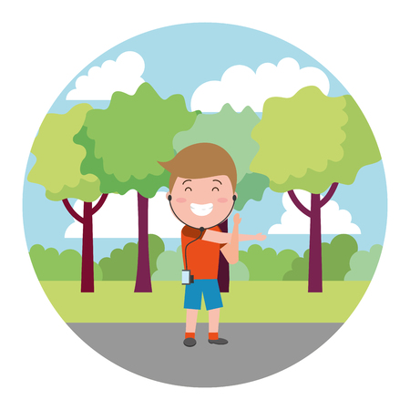 sport guy with earphones on the outdoors vector illustration