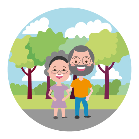 elderly couple on the outdoors vector illustration