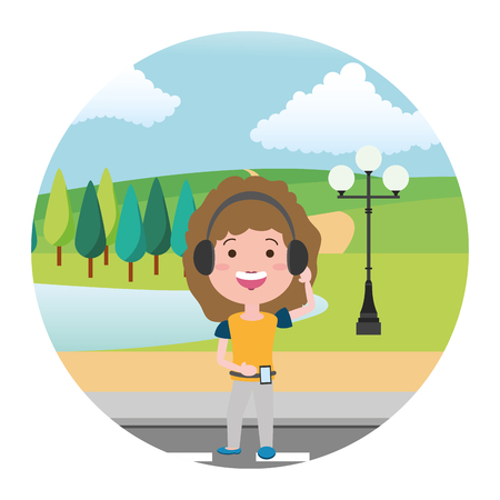 woman using heaphones street park lake vector illustration