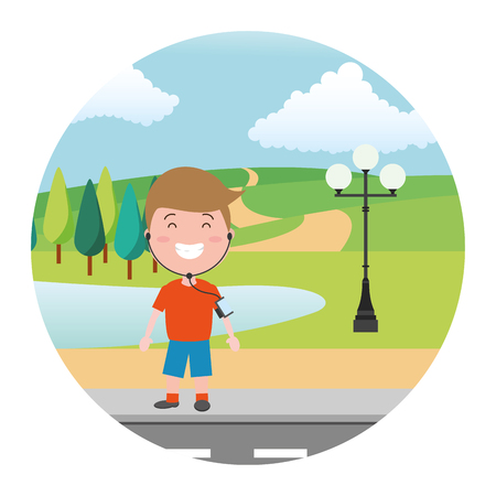 sport guy with earphones street park lake vector illustration