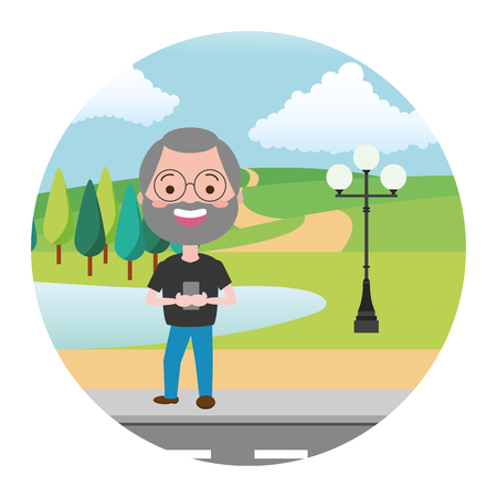 mature man chatting mobile street park lake vector illustration 일러스트