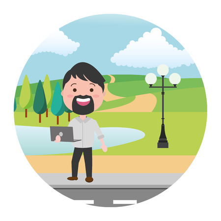 beard man using laptop street park lake vector illustration