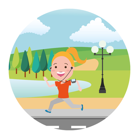 running woman with mobile street park lake vector illustration