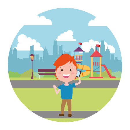 young man calling mobile in the city playground vector illustration Ilustracja