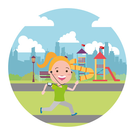running woman with mobile in the city playground vector illustration Ilustración de vector