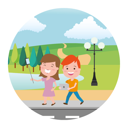 woman taking selfie and young with laptop street park lake vector illustration
