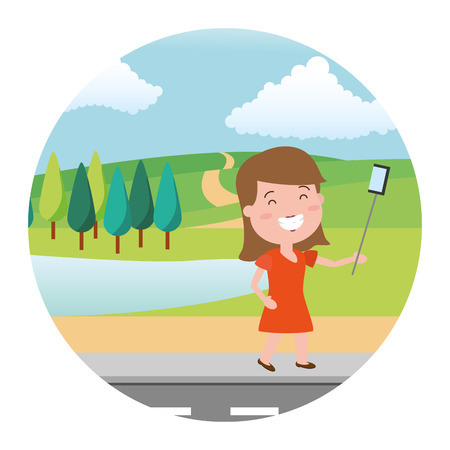 smiling woman taking selfie street park lake vector illustration