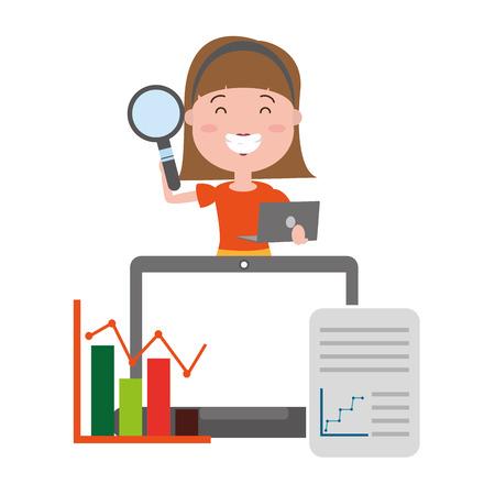 femme avec ordinateur portable loupe informations big data vector illustration