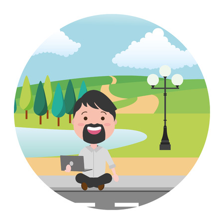 man sitting with laptop tech street park lake vector illustration