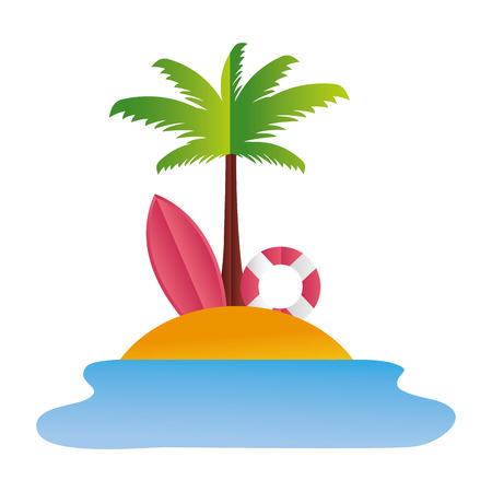 beach palm lifebuoy surfboard paper origami vector illustration