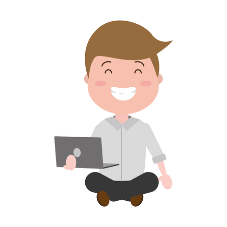 smiling man sitting with laptop vector illustration Illustration