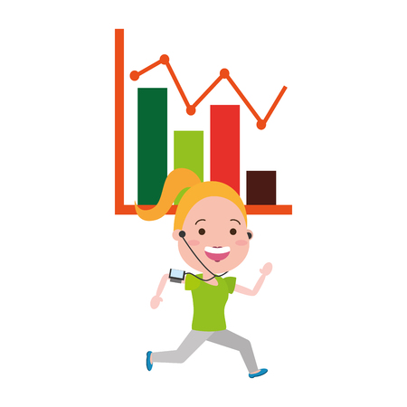running girl with earphones chart report vector illustration