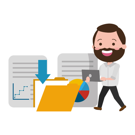man with laptop down files big data vector illustration