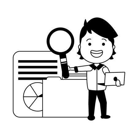 man with magnifying glass folder file big data