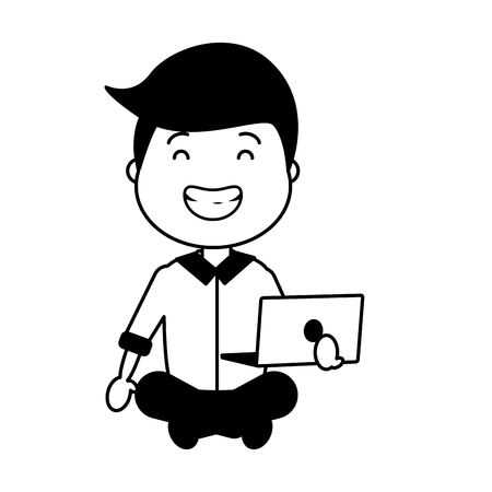 smiling man sitting with laptop vector illustration Stock Vector - 117914774