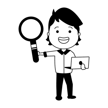 guy holding loupe and laptop vector illustration