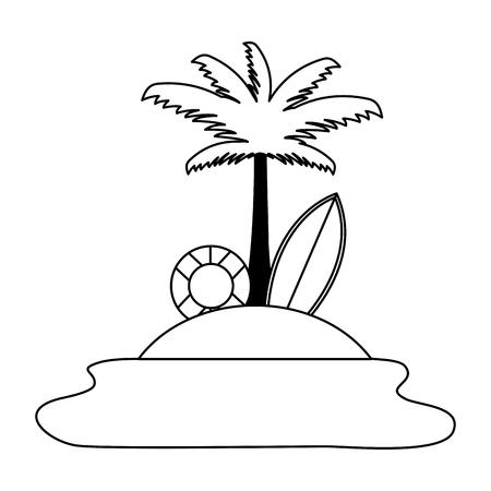 Beach palm lifebuoy planche de surf contour vector illustration